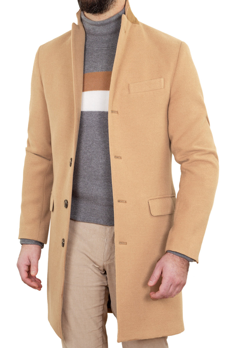MONTEZEMOLO Men's Clothing - Outerwear - Light-Brown Technofabric Coat - www.montezemolostore.com