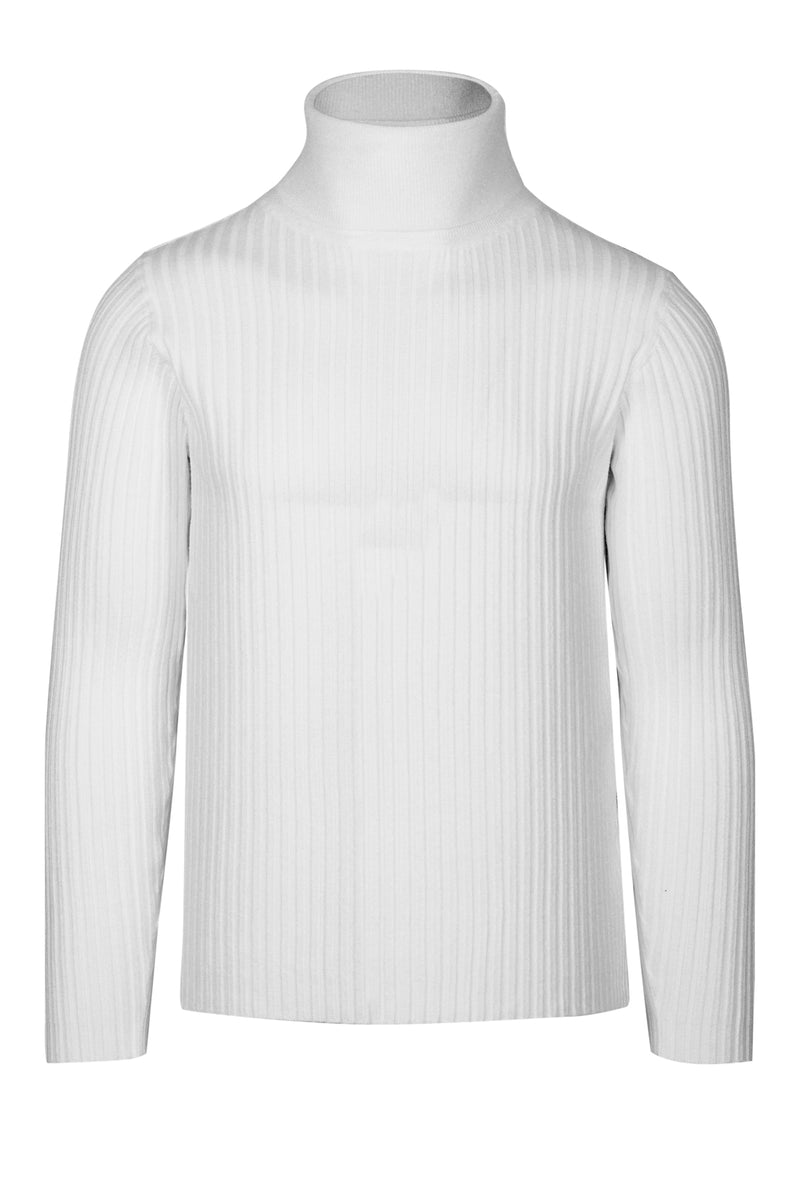 MONTEZEMOLO Men's Clothing - Knitwear - Ribbed White Turtleneck - www.montezemolostore.com