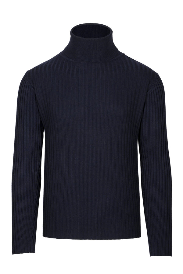 MONTEZEMOLO Men's Clothing - Knitwear - Ribbed Blue Turtleneck - www.montezemolostore.com