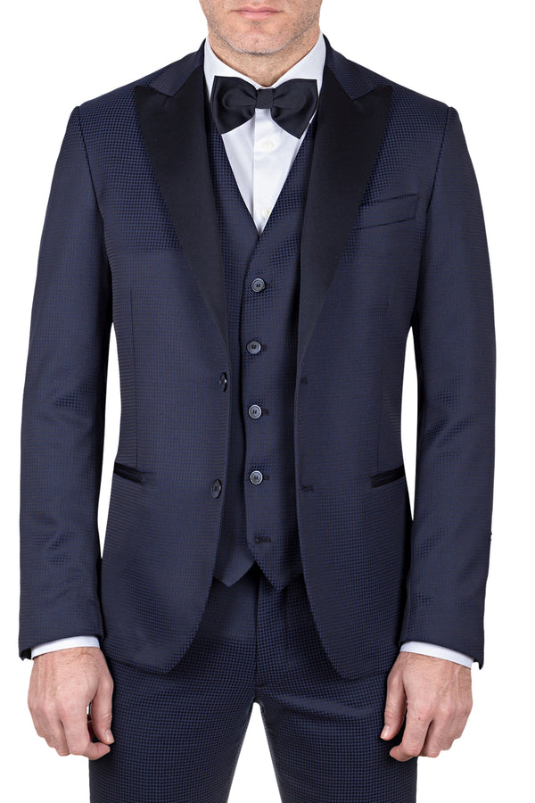 MONTEZEMOLO Men's Clothing - Suits - Micro Houndstooth Fancy Tuxedo Suit - www.montezemolostore.com