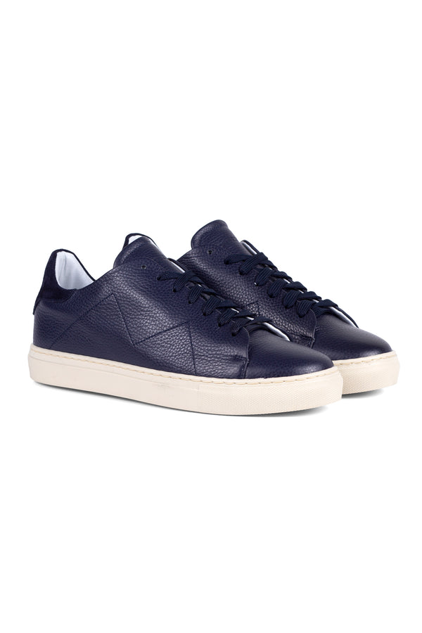 MONTEZEMOLO Men's Clothing - Sneakers - Blue Leather Sneakers - www.montezemolostore.com