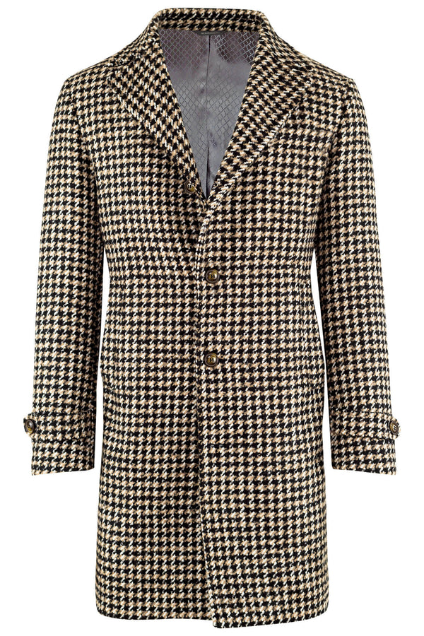 Wool, Cotton & Mohair Blend Pied-de-Poule Coat