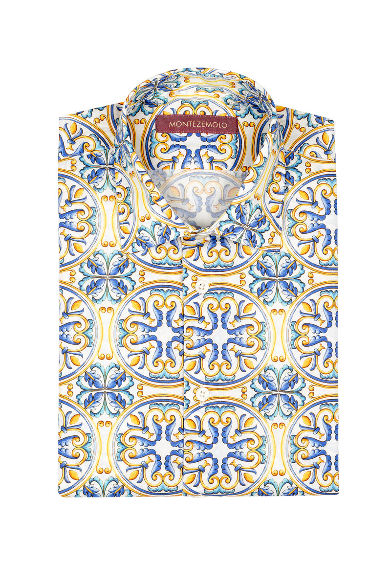 MONTEZEMOLO Men's Clothing - Shirts - Fancy All-Over Printed Cotton Shirt - www.montezemolostore.com