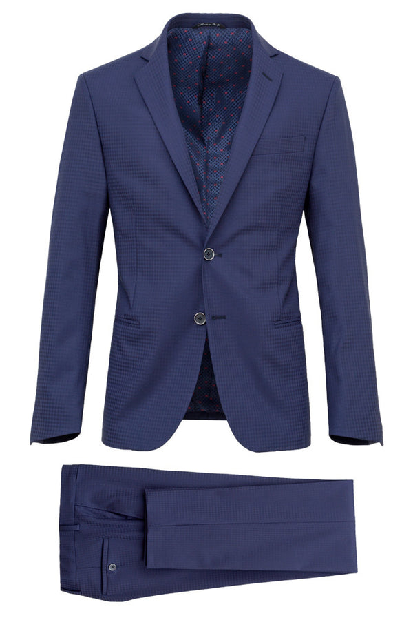MONTEZEMOLO Men's Clothing - Suits - Faux-Uni Blue Stretch Wool Suit - www.montezemolostore.com