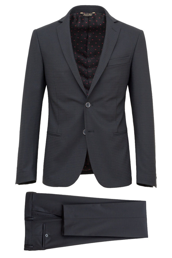 MONTEZEMOLO Men's Clothing - Suits - Faux-Uni Black Stretch Wool Suit - www.montezemolostore.com