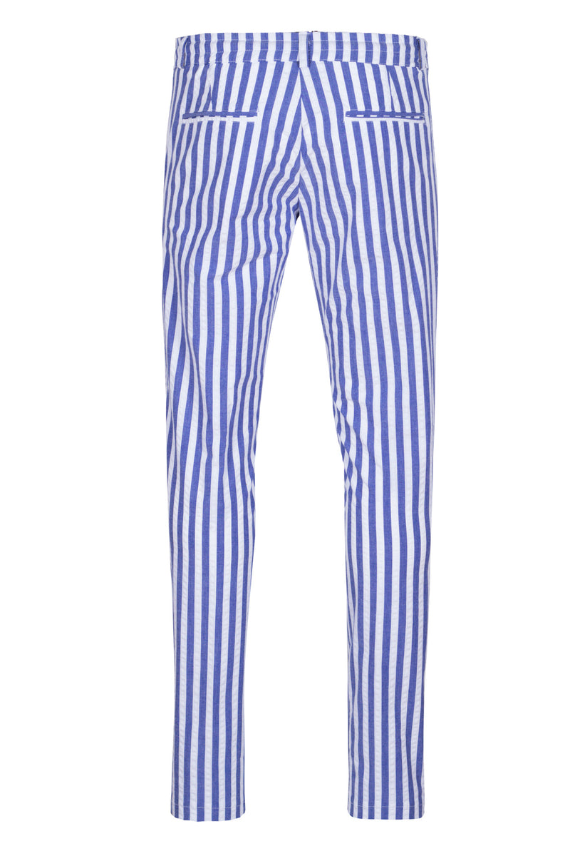 MONTEZEMOLO Men's Clothing - Trousers - Striped Seersucker Chino Trousers - www.montezemolostore.com