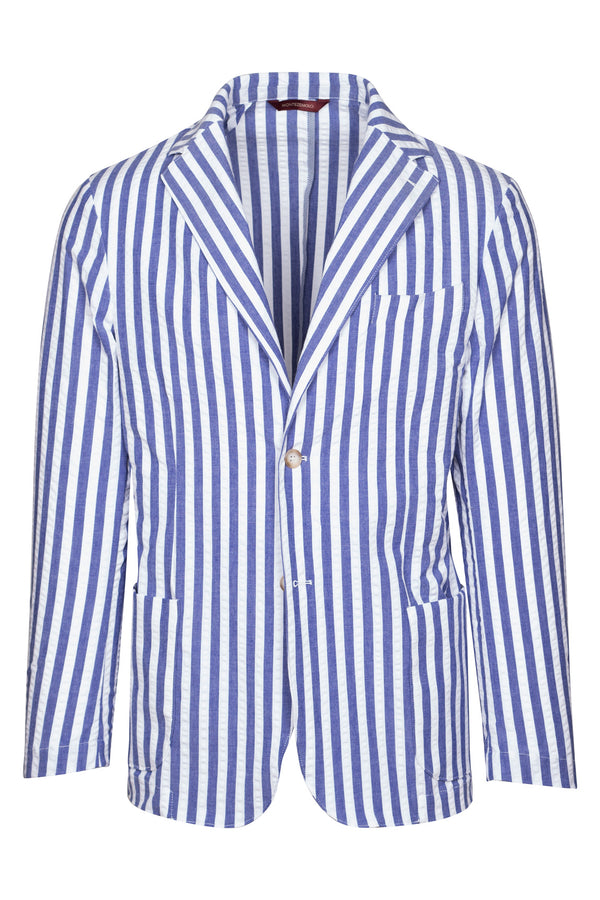 MONTEZEMOLO Men's Clothing - Jackets - Striped Seersucker Cotton Jacket - www.montezemolostore.com