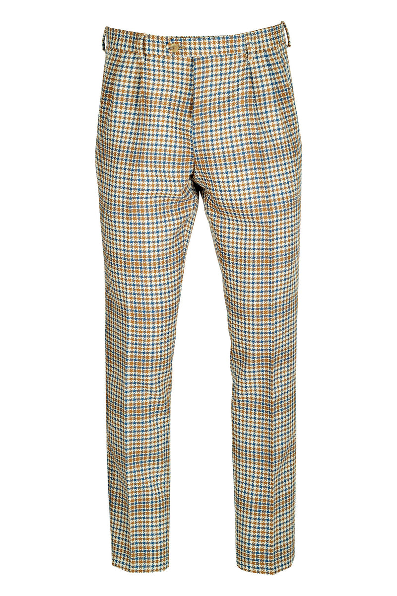 Double Pleated Houndstooth Trousers