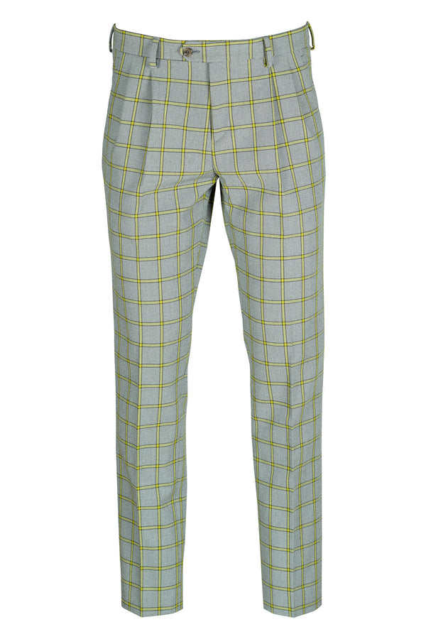 Double Pleated Check Trousers