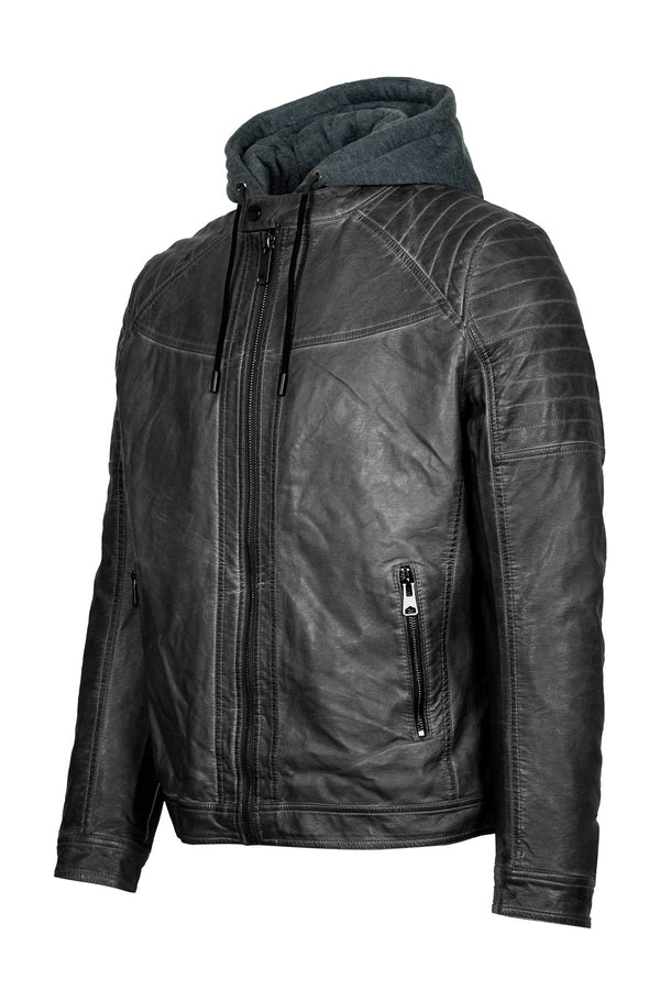 Hooded Vest Eco-Leather Biker Jacket