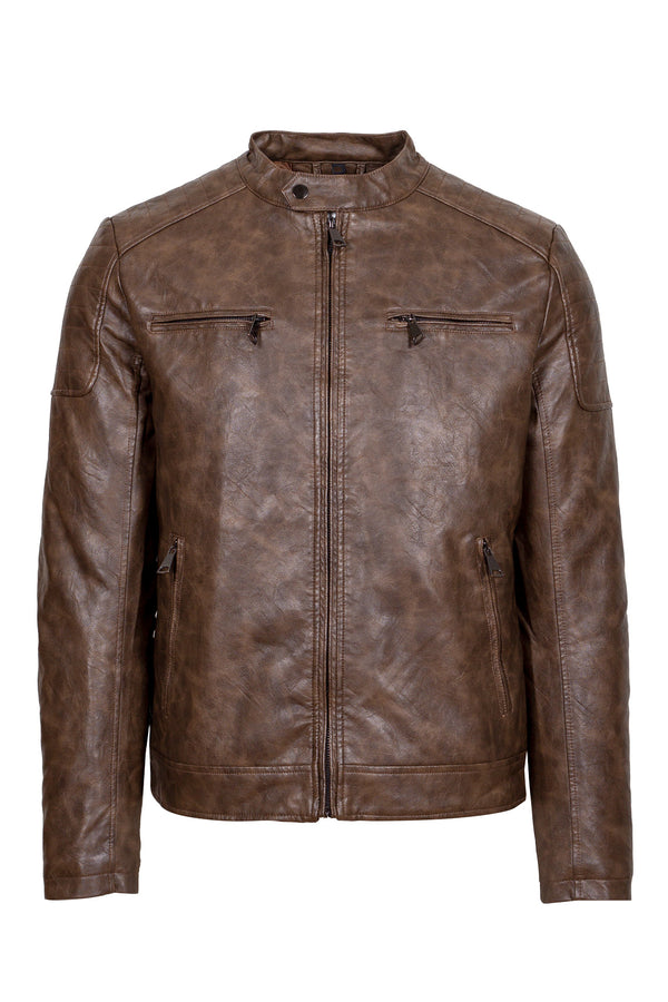 Eco-Nubuck Leather Biker Jacket