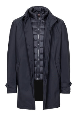Navy Padded Car-Coat with Vest