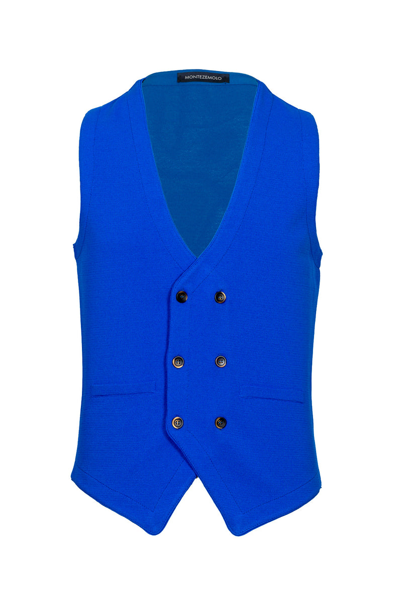 Double-Breasted Cotton Blend Knitted Waistcoat