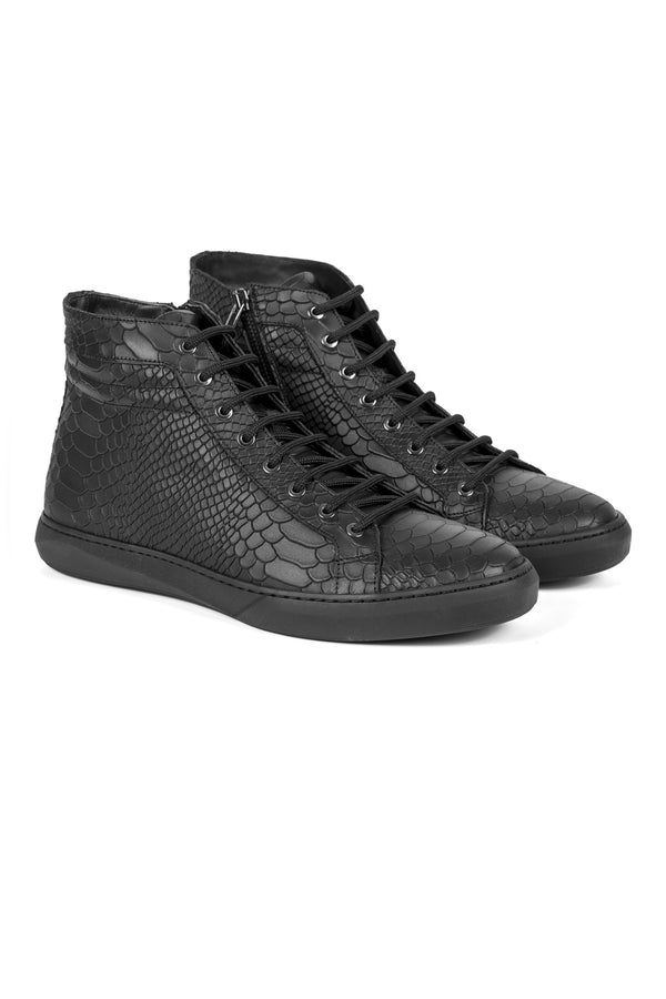 High-Top Embossed Leather Sneakers