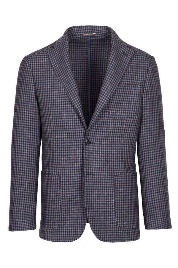 Micro Check Wool-Silk & Cashmere Blend Jacket