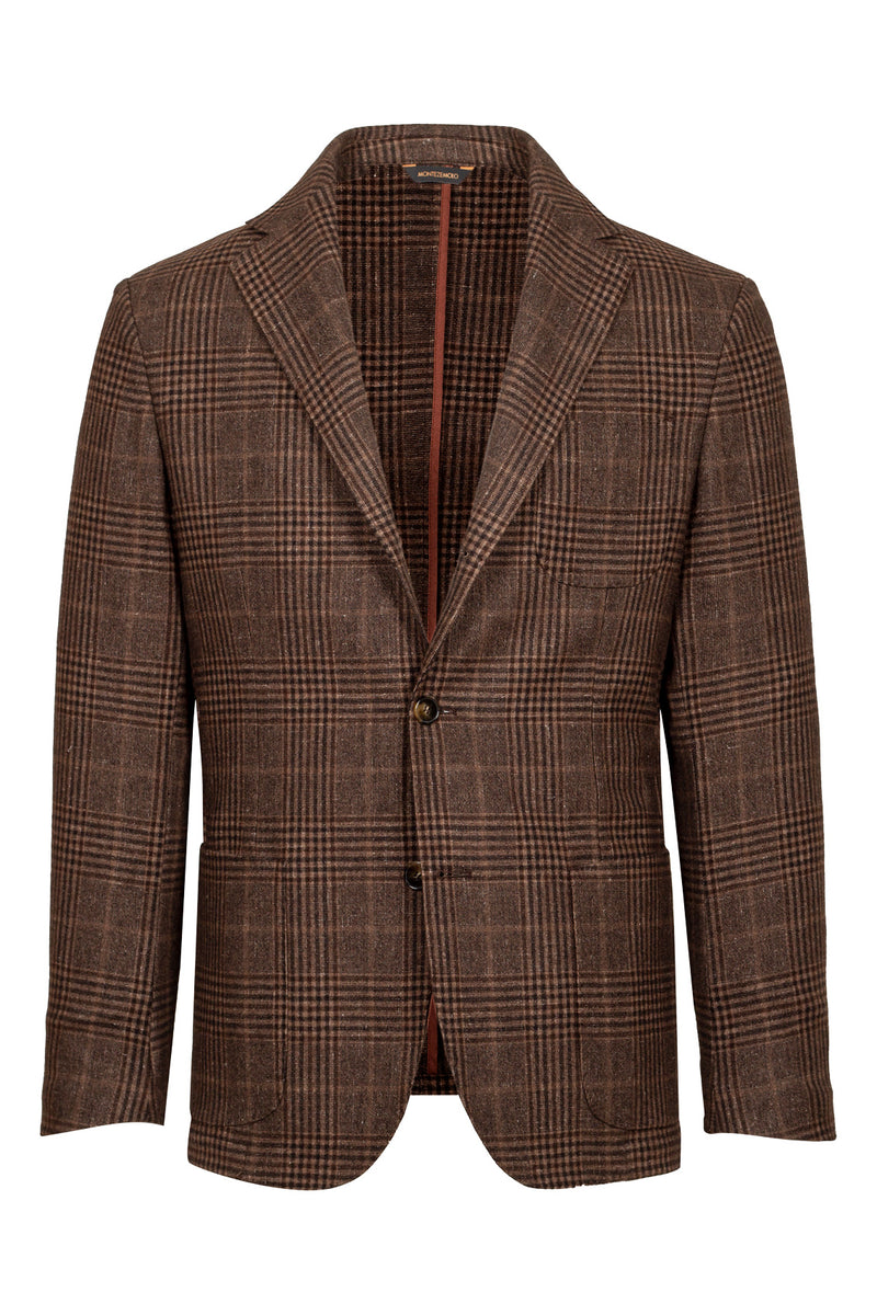 Prince-of-Wales Woo-Silk & Cashmere Blend Jacket