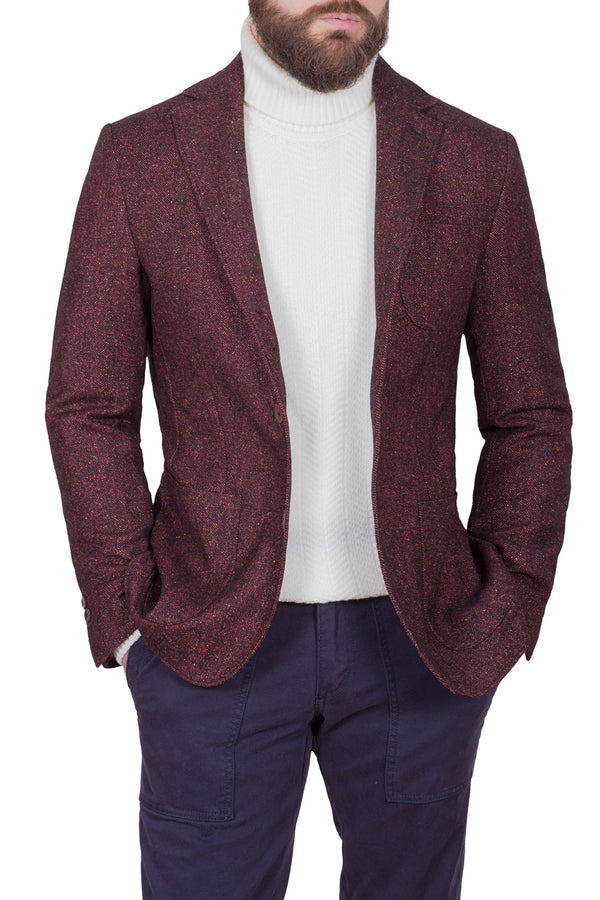 Herringbone Weave Wool & Silk Jacket