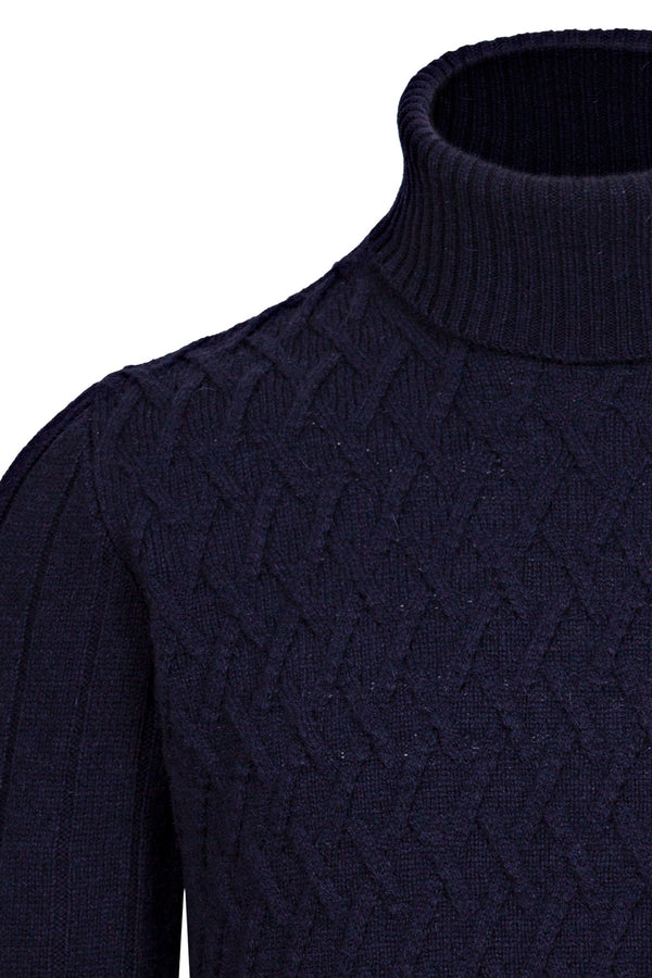 Wool Cable Knit Turtleneck Sweater
