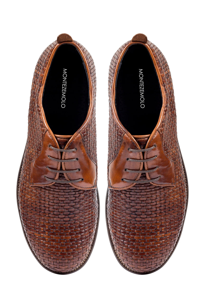 MONTEZEMOLO Men's Clothing - Lace Up Shoes - Intrecciato Leather Derby - www.montezemolostore.com