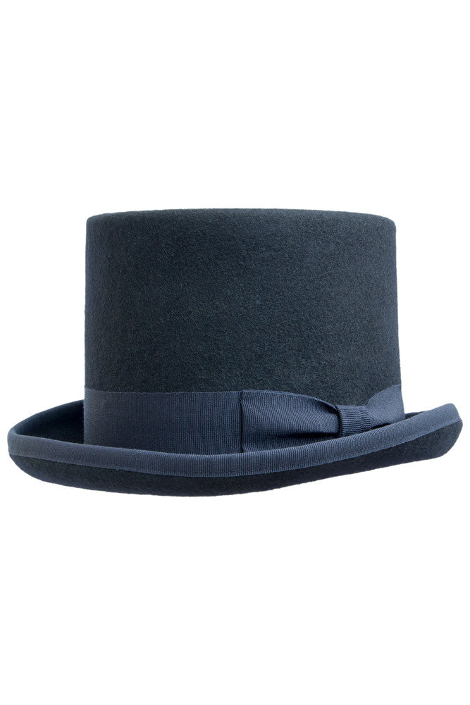 Blue Felt Top Hat , Hats - Black tie, MONTEZEMOLO