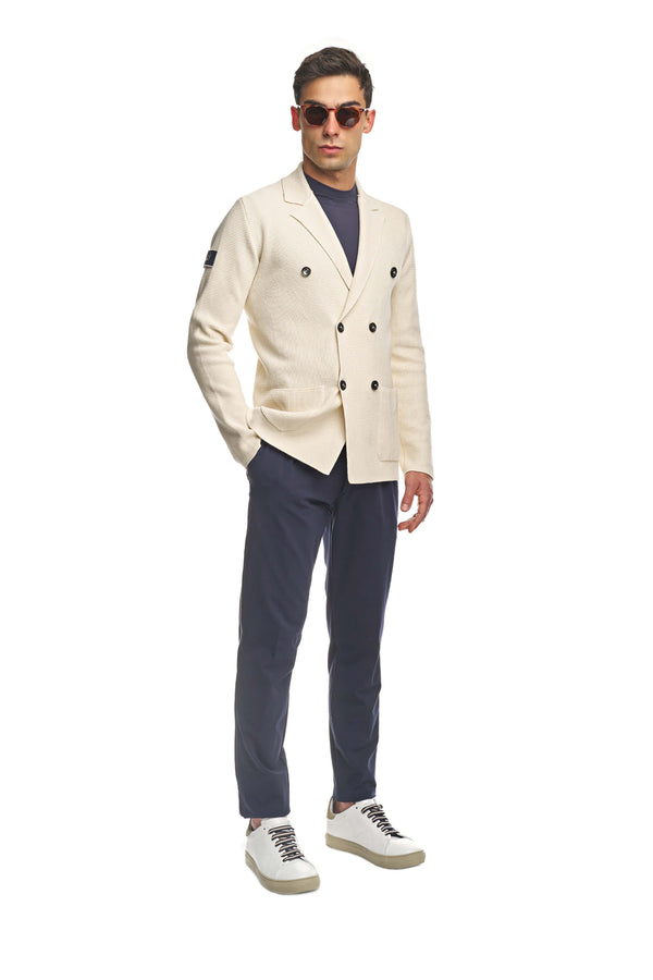 Beige Double-Breasted Stitch Knit Jacket