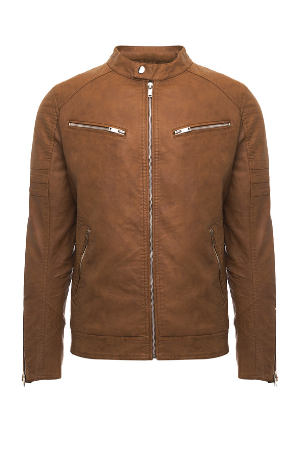 Brown Eco-Leather Biker Jacket
