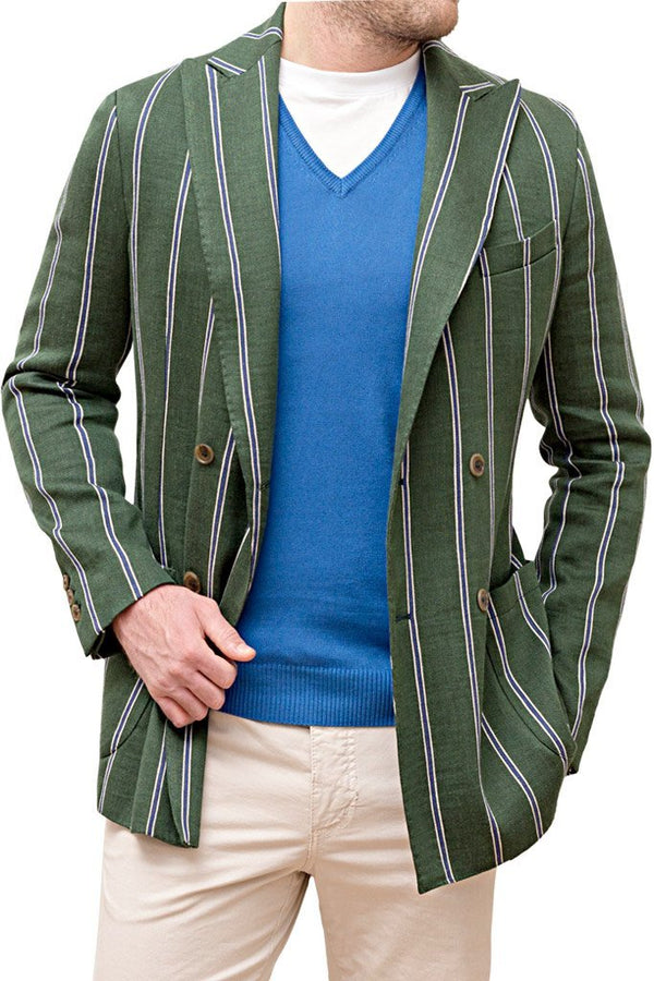 Doublebreasted Striped Linen Jacket