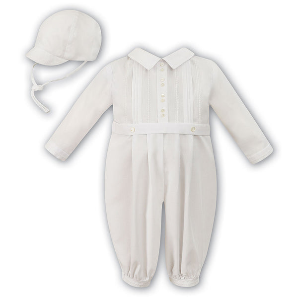 Sarah Louise AW - Boys Ivory Romper with Hat - 010447L