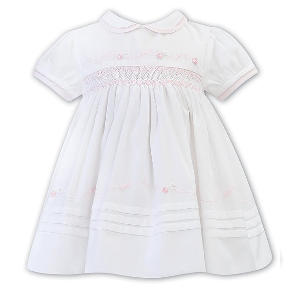 Sarah Louise - White hand smocked dress 012265