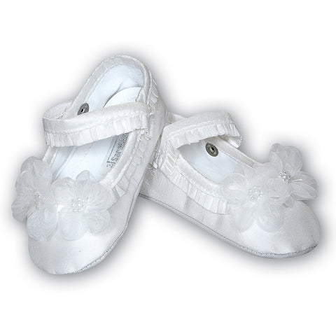 Sarah Louise -  Girls pram shoes, Christening - White 004401