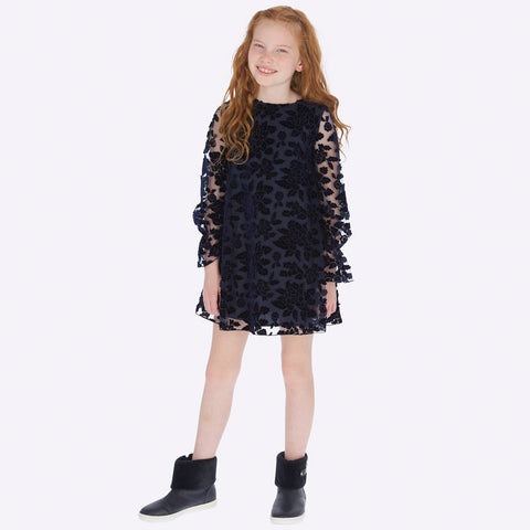 Mayoral - Velvet flower dress, Navy, 7927
