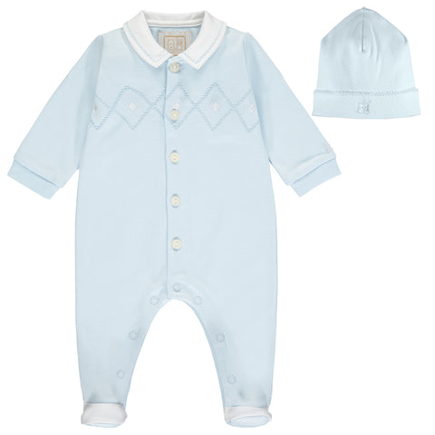 Emile et Rose baby boys romper, Ref: 1924pb  Pale blue romper with matching pull on hat  Smart pale blue romper with white collar  Button front fastening  popper fastening under legs  100% cotton  Machine washable 30*