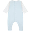 Emile et Rose baby boy romper Ref: 1925 Willis Pale blue romper with train embroidery on front White top and pale blue bottom Popper fastening at back and under legs 100% cotton Machine washable 30*