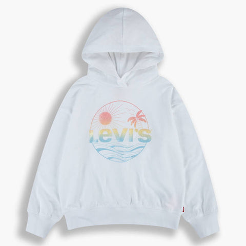 Ref: 4EC731-001  Ages 4yrs - 8yrs £50  Ages 10yrs - 16yrs £55 LEVIS  White hoodie sweat top with beach sparkle front print  How it Fits Regular fit 10A = 140cm,12A = 152cm,14A = 158cm,16A = 164 cm Composition & Care Solid: 100% cotton Heathered: 60% cotton 40% polyester Machine wash