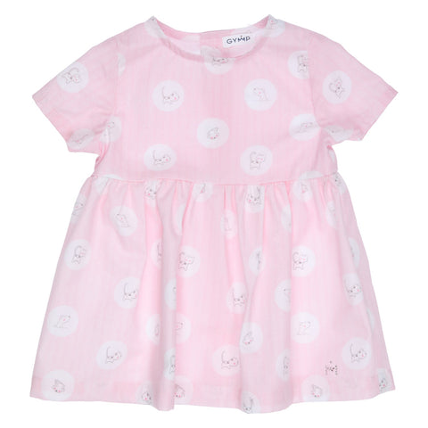 Ref: 470-1444-10  Beautiful GYMP pink dress with short sleeves  Cute cat and dog circle all over print  Button fastening down back  100% cotton  Machine washable 30*
