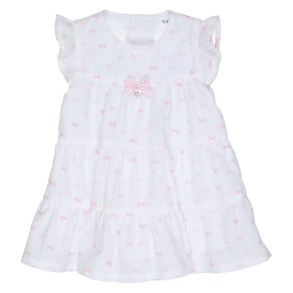 Ref: 471-1474-10  Beautiful white sleeveless dress, with pink bow all over print  Pink spot bow on front with GYMP logo button tag  Button fastening down back  Fully lined   100% cotton,  Machine washable 30*