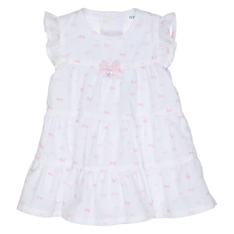 GYMP - White dress, pink bow print