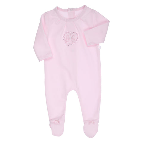 Ref: 480-1197-11  Beautiful pink  baby girls all in one  Front bow with heart embroidery and sparkle detail  Popper fastening down back  94% cotton   6% elastane  Machine washable 30*