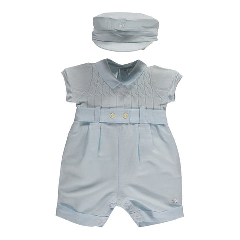 "Emile et Rose - Baby boys romper with hat, pale blue 7241<BR> <span style=""color:#FF0000"">SALE"