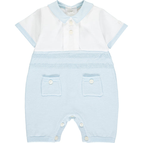 Emile et Rose baby boys romper, Ref: 7298pb William  Beautiful pale blue and white romper with collar  Short sleeves and short legs  White top, pale blue knit bottom  Button fastening at back and under legs  100% cotton  Machine washable 30*