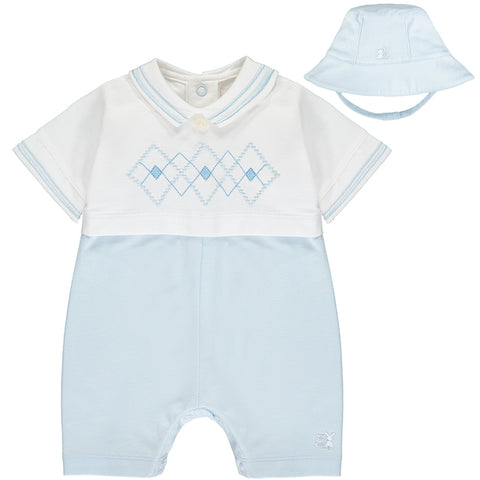 Emile et Rose baby boy romper and hat, Ref: 7299 Wilson  Beautiful pale blue and white romper with bucket style hat  Short sleeves and short legs  Popper fastening at back and under legs  100% cotton Machine washable 30*