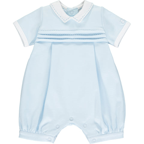 Emile et Rose baby boys romper, Ref: 7301pb Waldo  Beautiful pale blue romper with white collar  Short sleeves and short legs  Popper fastening at back and under legs  100% cotton  Machine washable 30*
