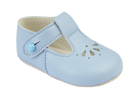Early Days - Baby pram shoes, pale blue, B617