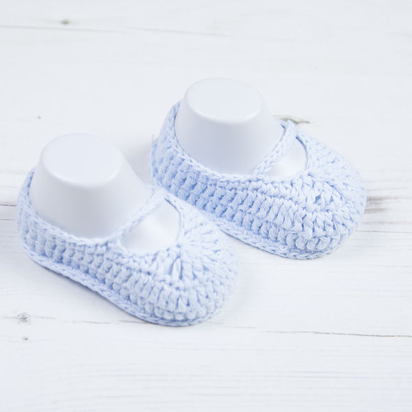 Carlomagno - crochet bootees blue 304