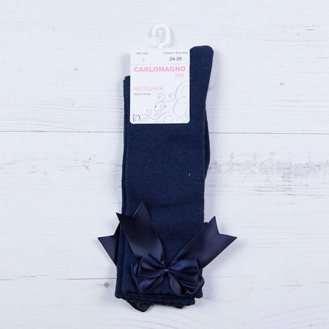 Carlomagno - Long baby socks, plain pattern, double bow, navy, UKG2