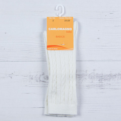 Carlomagno  - Long baby socks, cable pattern, cream