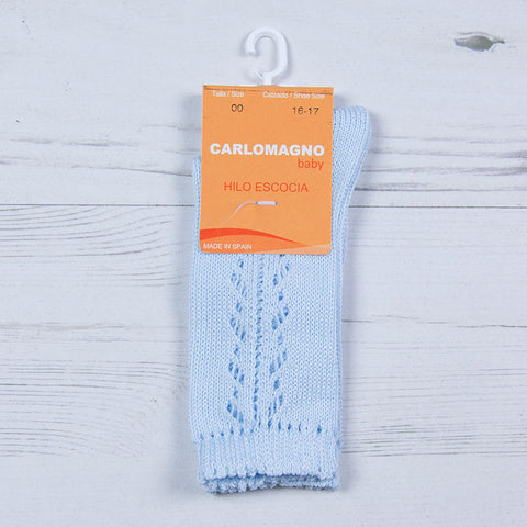Carlomagno - lace pattern long blue socks 37/55
