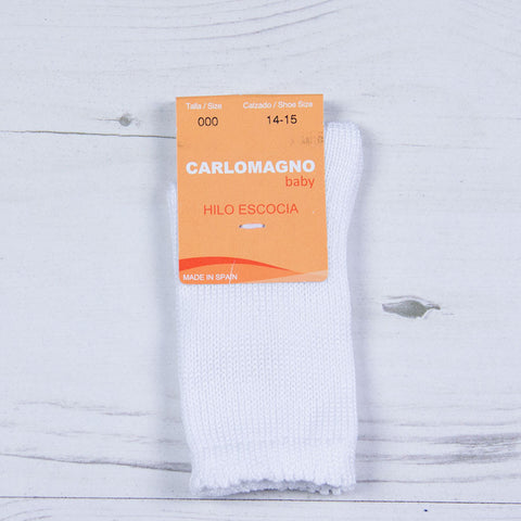 Carlomagno - plain knit long socks white 118