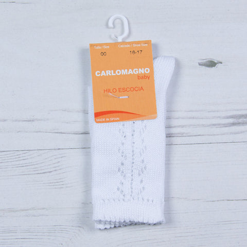 Carlomagno - lace pattern long white socks 37/55