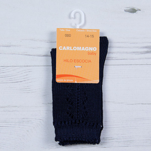 Carlomagno - lace pattern long navy socks 37/55